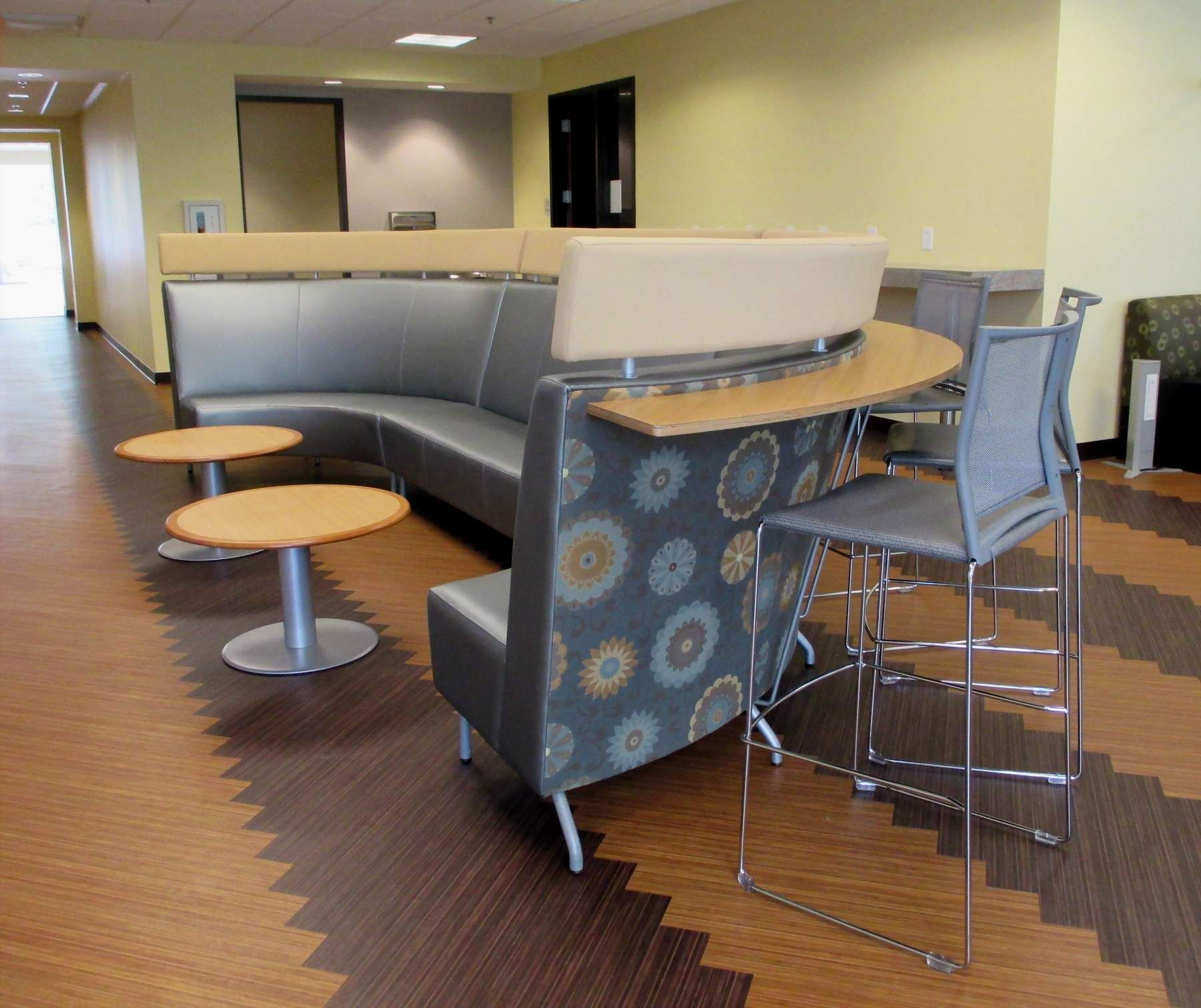 City of Charleston- Neat high back sofa with ledge for stools behind - Herald Office Solutions Columbia, SC Charleston, SC Dillon, SC Myrtle Beach, SC Cheraw, SC Sumter, SC Greenwood, SC Sumter, SC Whiteville, NC