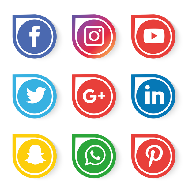 Social Media Icons Set Vector, Social Media Clipart
