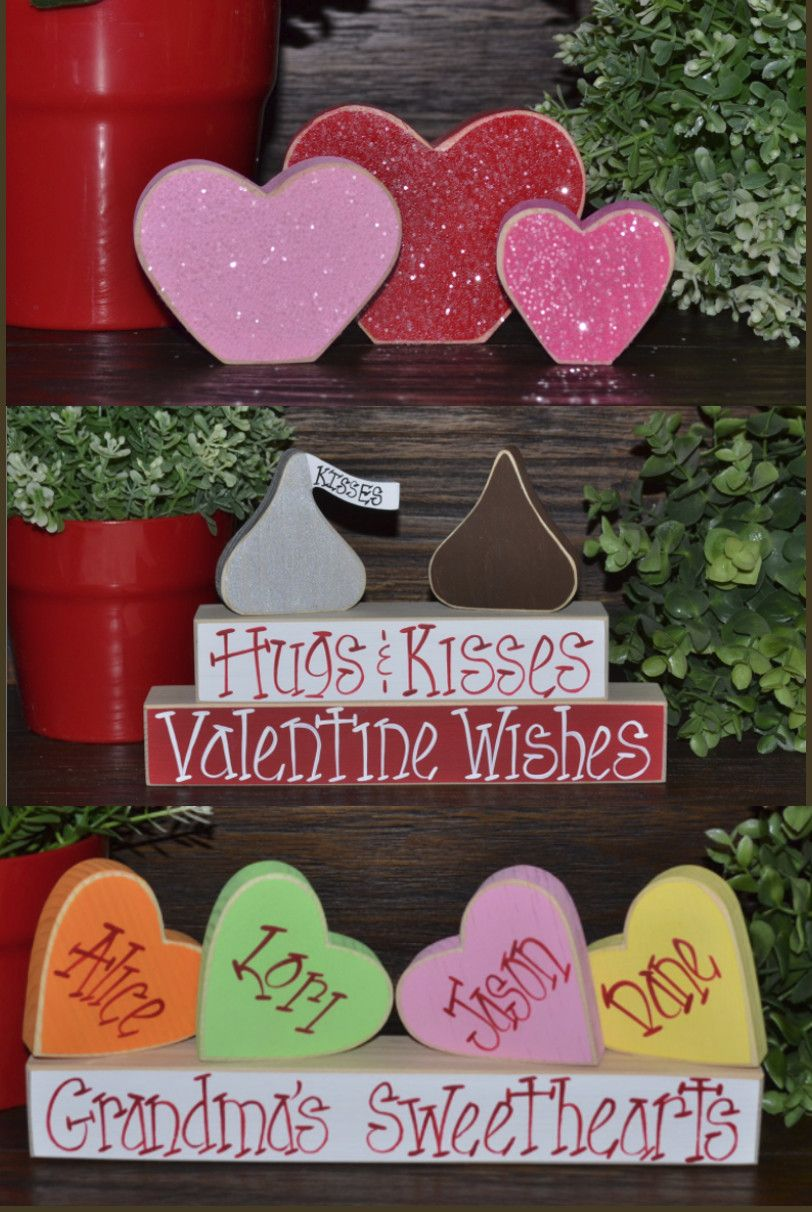 Blocks of love Valentines day home decor blocks #ad