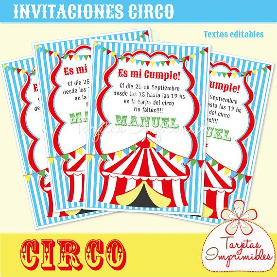 Circus Invitations To Print With Text Editable Pdf