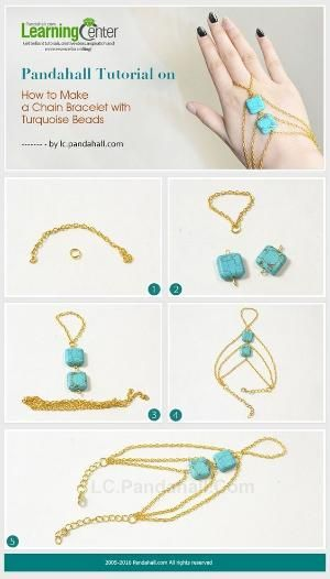 Pandahall Tutorial on How to Make a Chain Bracelet with Turquoise Beads from LC.Pandahall.com   Jewelry Making Tutorials & Tips 2   Pinterest by Jersica