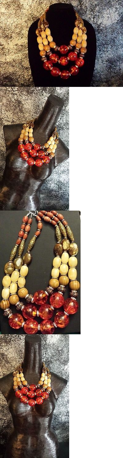 Middle Eastern 166732: Tibetan Amber Beeswax Haute Couture Statement Necklace Luxury Redhead Upscale Xl BUY IT NOW ONLY: $200.0