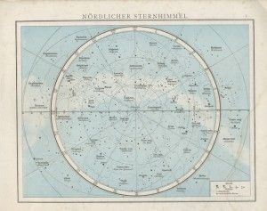 Nördlicher Sternhimmel. Old star map. | Space map, Map ...