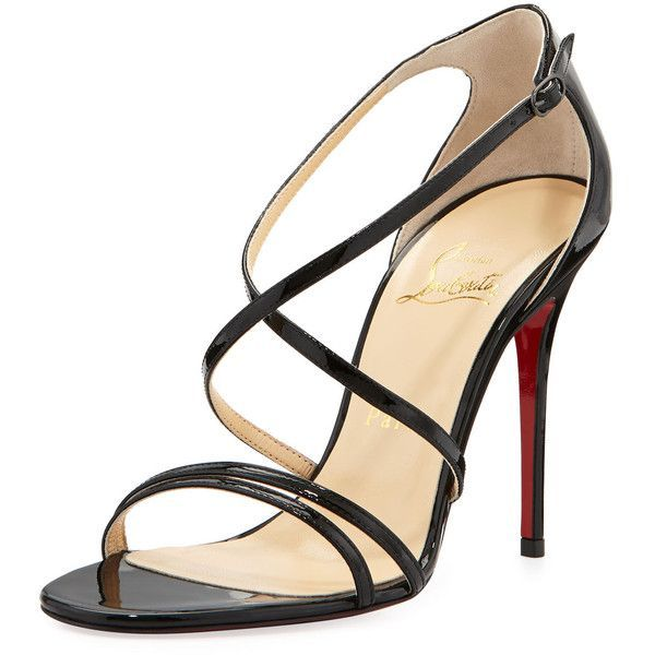Gwynitta Patent Crisscross Red-Sole Sandal, Black - Christian... found on Polyvore