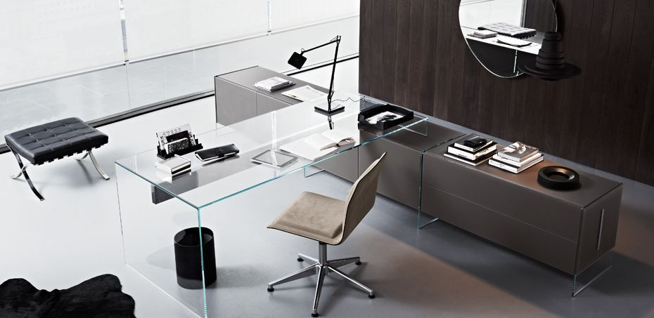Transparent Tempered Glass Office Desk Air By Gallotti Radice Air Desk Gallot In 2020 Executive Office Desk Executive Office Design Modern Home Office Furniture