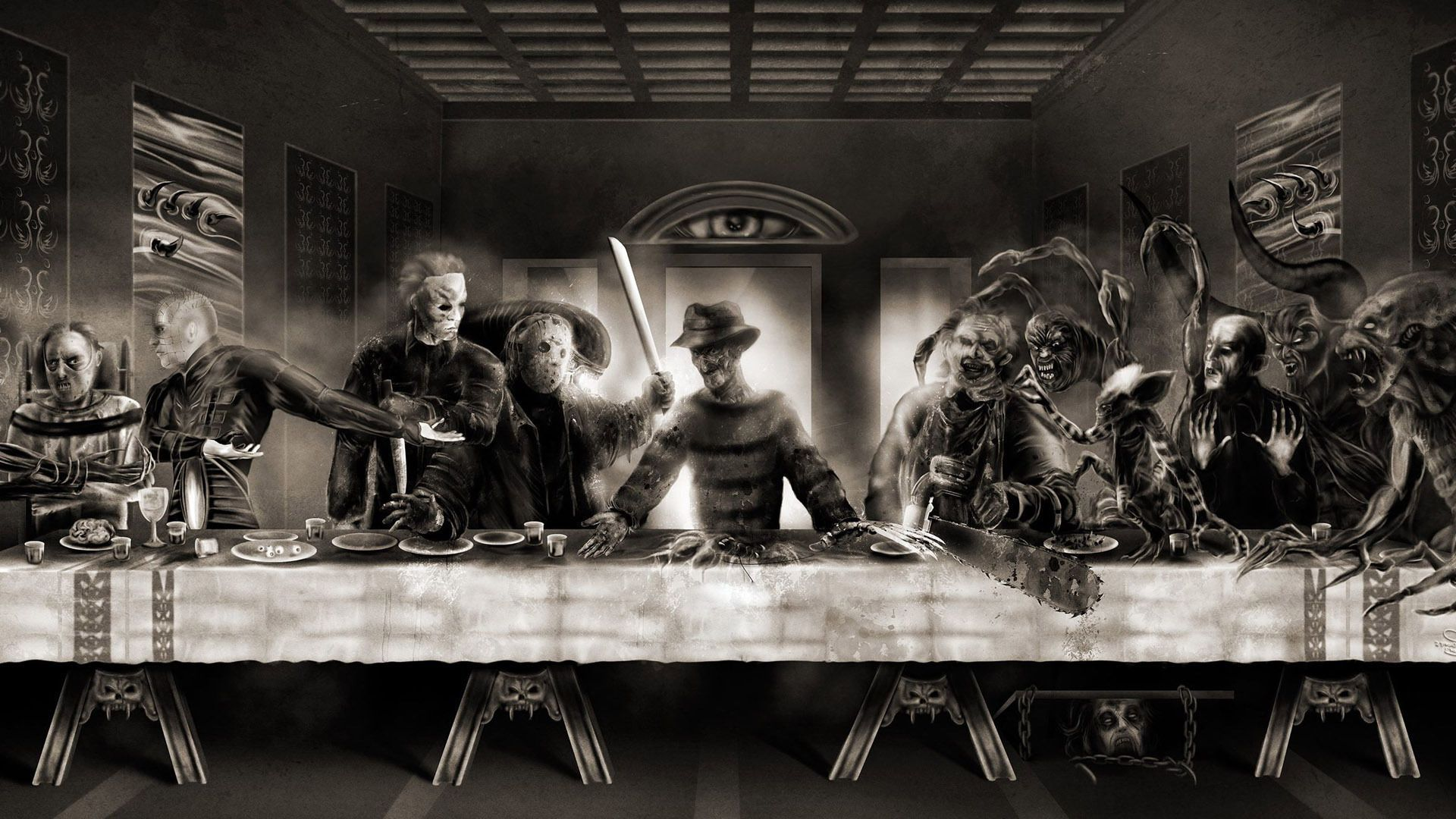 1920x1080 Horror Horror Last Supper Wallpaper 18864 Creatures Of The Horror Movie Art Horror Movies Funny Last Supper
