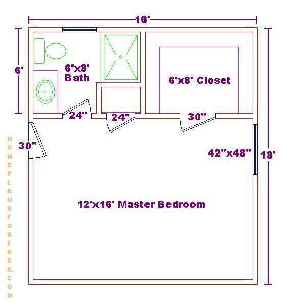 Home Additions Master Bedroom: Master Bedroom 12x16 Floor Plan With 6x8 Bath And Walk In