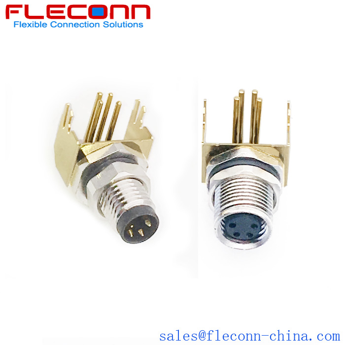 M8 4 Pin Male Female Shielded Right Angle Pcb Panel Mount Connector Electrical Wire Connectors Mounting Connector