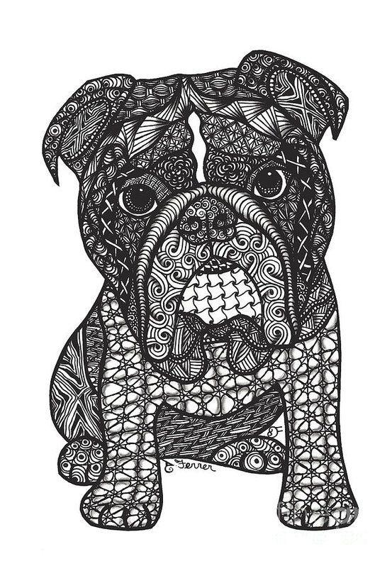 Good Dog English Bulldog Art Print by Dianne Ferrer
