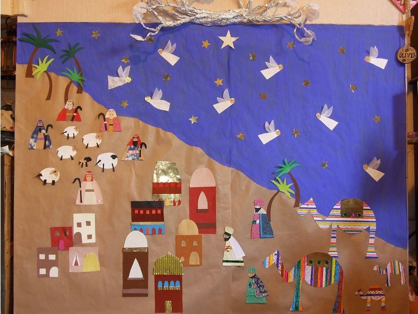 Christmas Display Ideas For Nursery.Nativity Scene Mural Christmas Bulletin Board Idea
