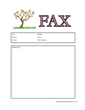A Pretty Blossoming Tree Makes This Colorful Fax Cover Sheet The