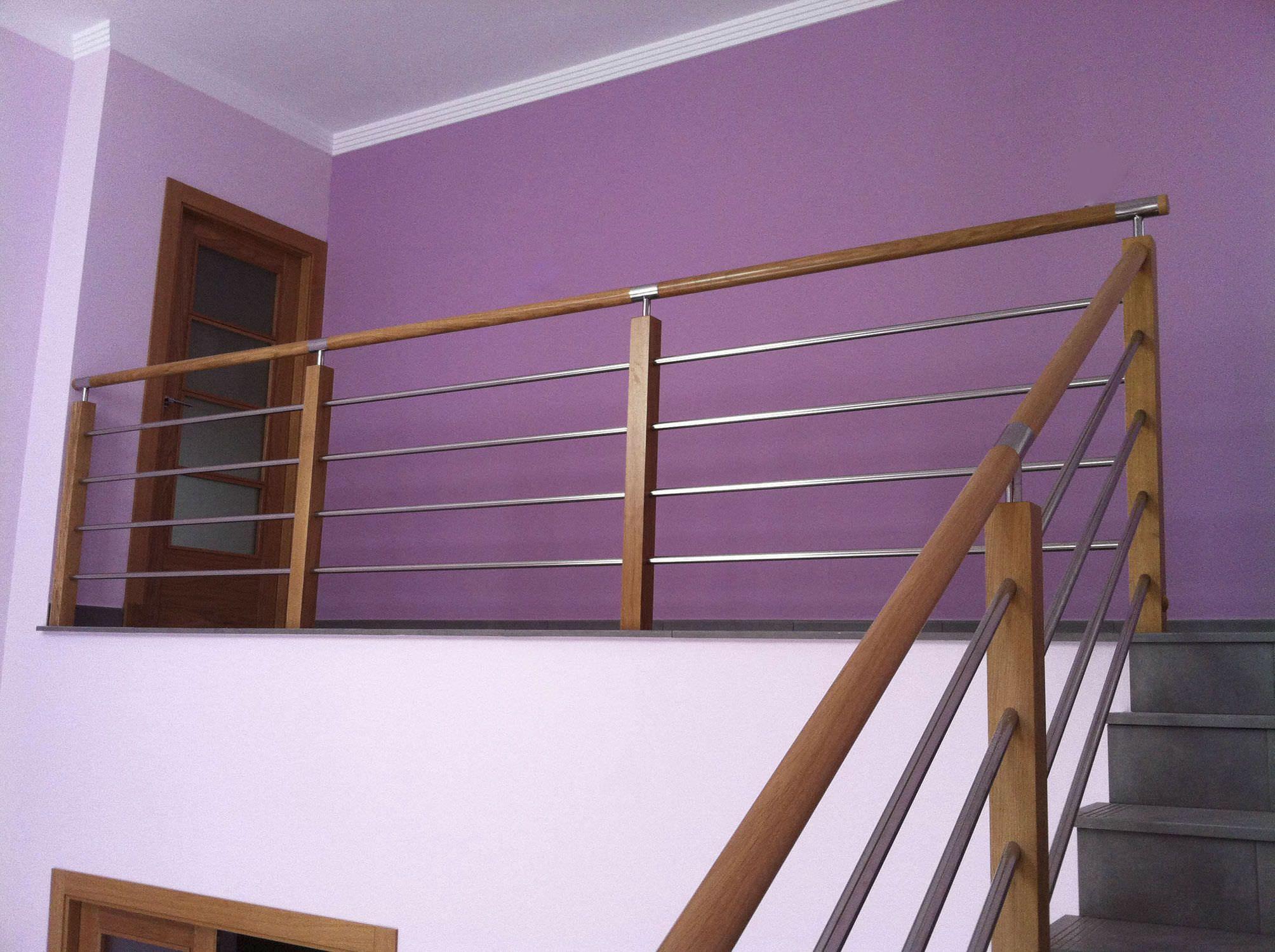 Barandilla De Interior De Madera De Acero Inoxidable Con  ~ Escaleras Prefabricadas De Madera