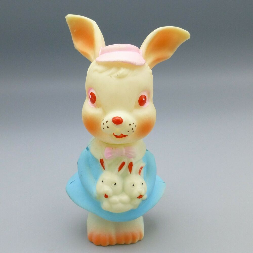 Vintage Rubber Bunny Rabbit Baby Squeak Squeaky Toy Easter ...