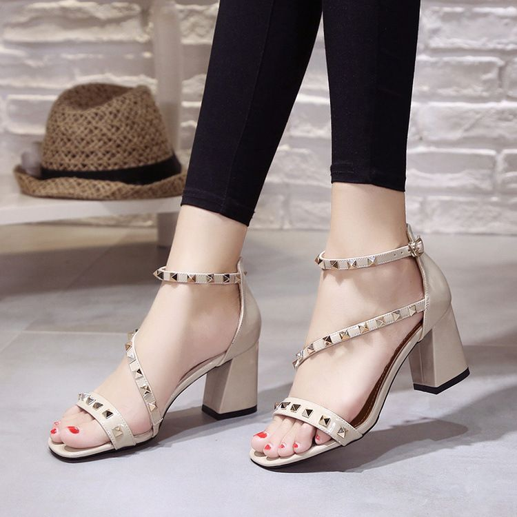 95b0b4dce9 Open Toe Rivets Ankle Wrap Low Chunky Heels Sandals   Party Shoes ...