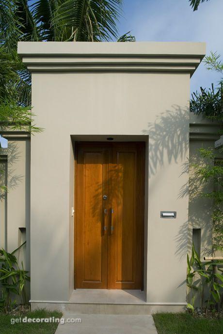 Cercos Para Patio Ideas Para Cercos Muros Diseno De Paredes Exteriores Diseno De Portones House Exterior House Entrance Bali Architecture