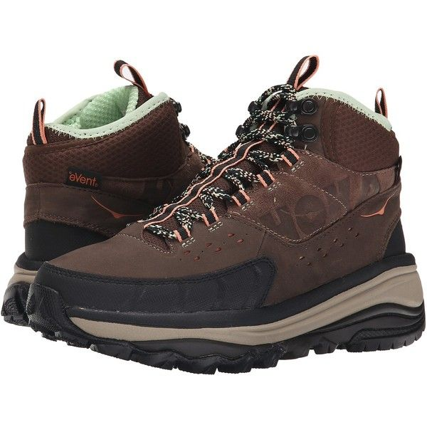 Hoka One One Tor Summit Mid WP (Brown/Patina Green) Women's Hiking...  (11.110 RUB) ❤ liked on Polyvore featuring shoes, water proof shoes,  leather upper ...