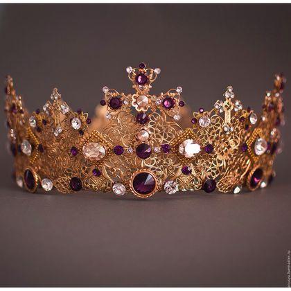 """Диадемы, обручи ручной работы. Корона с крестами """"Афина"""". Елена. Ярмарка Мастеров. Корона дольче габбана, диадема для невесты"""