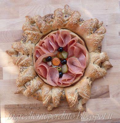 centrotavola di pane con antipasti