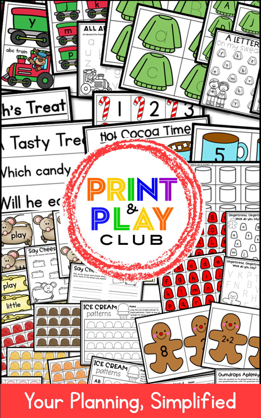 Print And Play Club Printables For Pre K And Kindergarten Centers Winter Math Centers Kindergarten Activities Thanksgiving Placemats [ 1344 x 840 Pixel ]