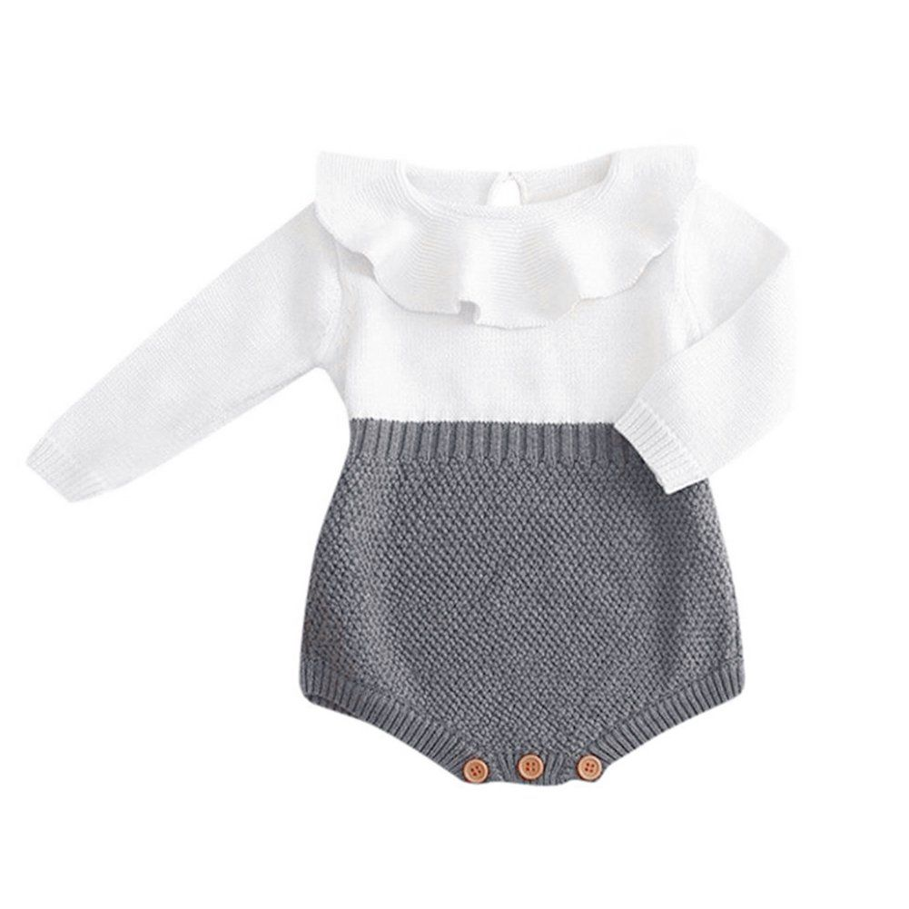 GRNSHTS Baby Girls Romper Knitted Ruffle Long Sleeve Jumpsuit Baby Kids Girl Romper Autumn Casual Clothing