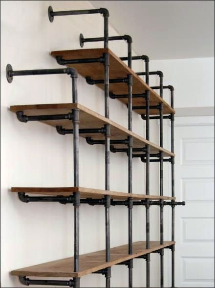 do it yourself cast iron pipe shelving visual. Black Bedroom Furniture Sets. Home Design Ideas