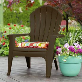adams resin stacking adirondack chair metal outdoor chairs shop mfg corp earth brown stackable patio at lowes com