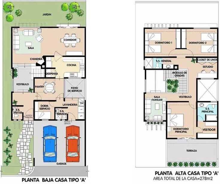 planos de casas de dos pisos en esquina