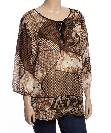 Look what I found on #zulily! Brown Patchwork Tie-Neck Top - Plus #zulilyfinds