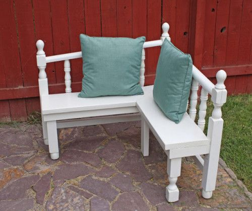 A corner bench from head and foot boards. ~ I might try this with my ...