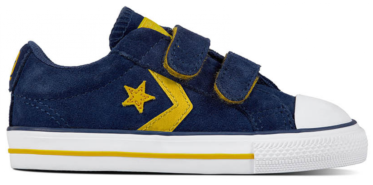 Converse Star Player EV 2V Toddler Low Top Navy Mineral Yellow White ... cb61159ab