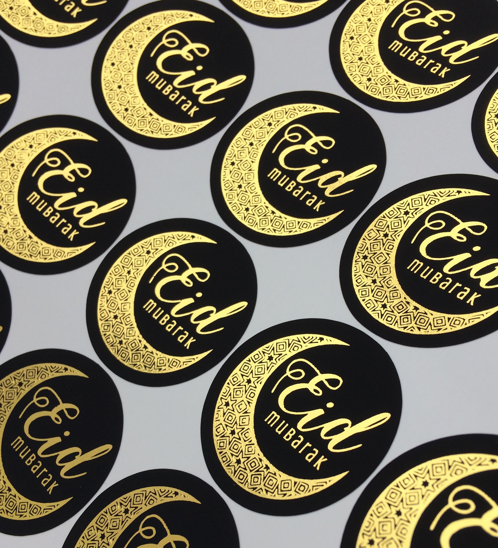 Eid Mubarak Stickers: Black & Gold Eid Mubarak Stickers