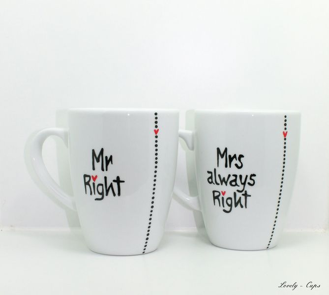 Mrs always Right Mr Right Tassen für die Hochzeit ...