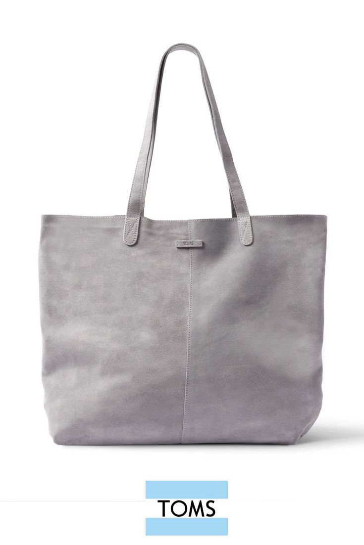 This Lightweight And Soft Suede Grey Toms Tote Bag Is Perfect For Work Travel Or Running Errands