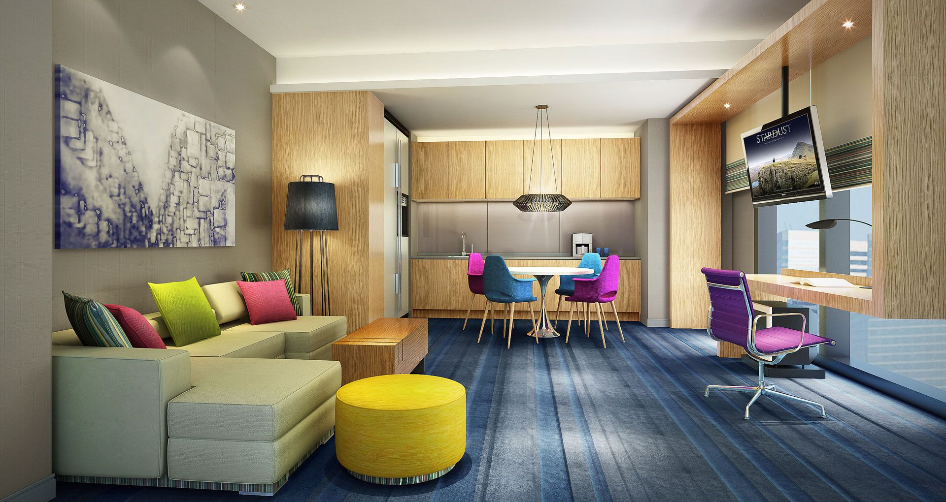 ALOFT Guangzhou Tianhe Hotel designed by Studio HBA. This hotel locates in the downtown area of Guangzhou and it is one of the earliest ALOFT hotels developed in China mainland. Its design concept resembles the energetic and dynamic city in an innovative and contemporary fashion, whilst staying in line with Starwood Aloft standard brand identity.