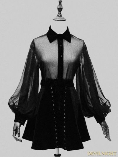 Gothic Long Sleeves Blouse for Women                                                                                                                                                                                 More