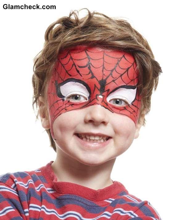Halloween Costume Face Art for Little Boys- Spiderman | Halloween ...