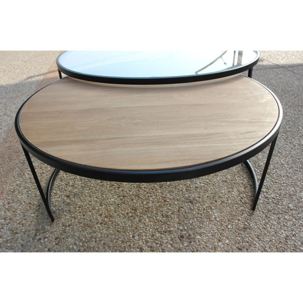 Table Basse Ronde Double Prado Industriel D 110 X H 42 1 Plateau  # Grande Table Basse Carre Indus