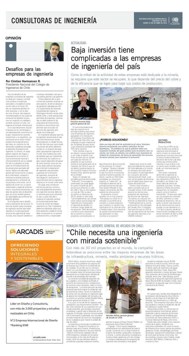Francisco Aracena Deza (AIC) en El Mercurio