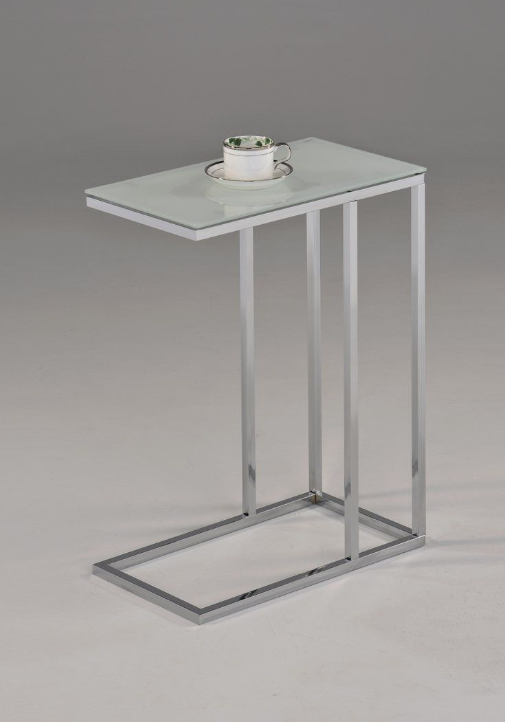 Delightful Amazon.com: Contemporary Snack Table With Glass Top, Chrome And Smoked  White: