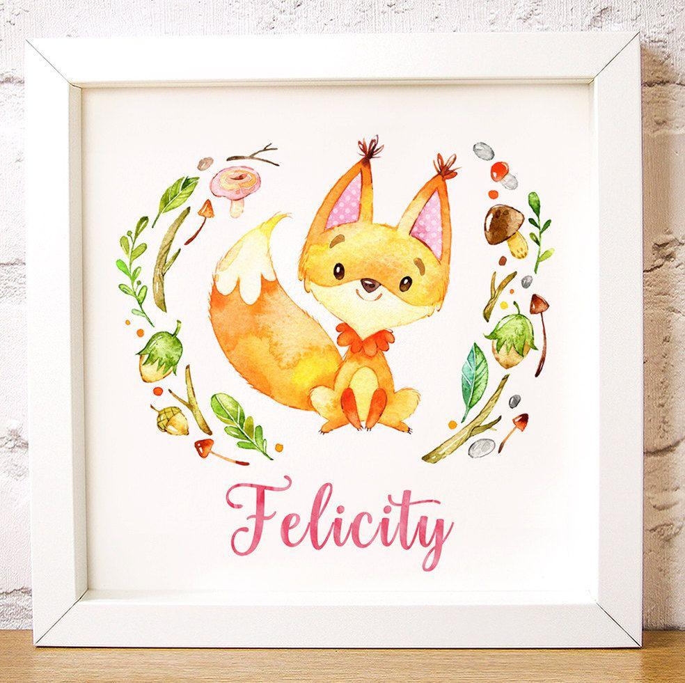 Custom name print, nursery wall art Felicity Fox is one of the ...