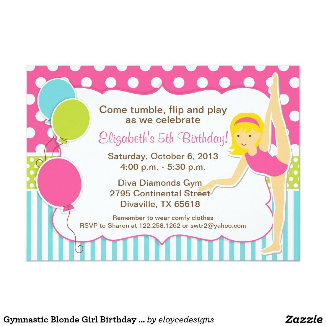 Gymnastic Blonde Girl Birthday Party 5x7 Paper Invitation Card ...