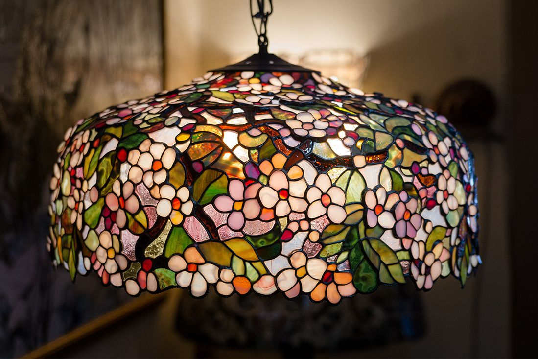 Ceiling Hanging Lamp Stained Glass Chandelier Flowers Pendant Etsy In 2021 Ceiling Hanging Hanging Ceiling Lamps Tiffany Style Lamp
