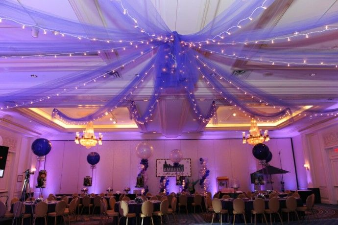 Ceiling Draping Purple Tulle Over Dance Floor Ceiling Draping