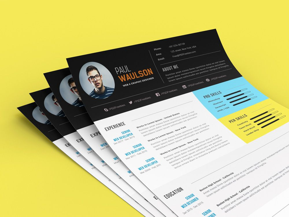 Free Modern Resume Template For Web Graphic Designer PSD File (5 ...