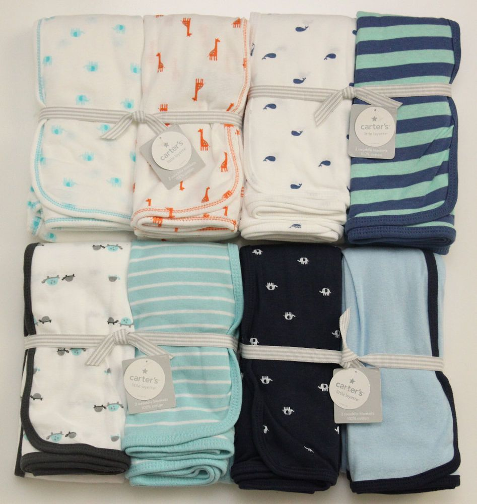 1a7ce25994e2 Carter s Baby Boy 2 Pack Swaddle Blanket~Turtle~Whale~Elephant ...