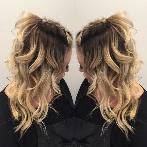 Curly Hairstyle With Back Braided Bangs Hair Styles Hair
