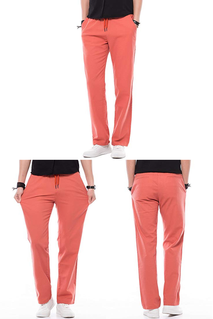 d563ea0a94 INFLATION Men's Relaxed-Fit Drawstring Cotton Linen Pant Lightweight Summer  Trousers|men black linen