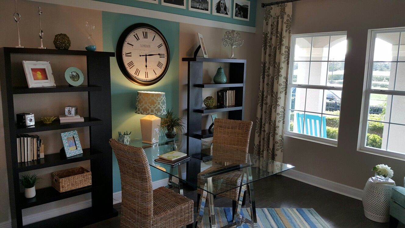 home office in teal colors new construction in winter garden