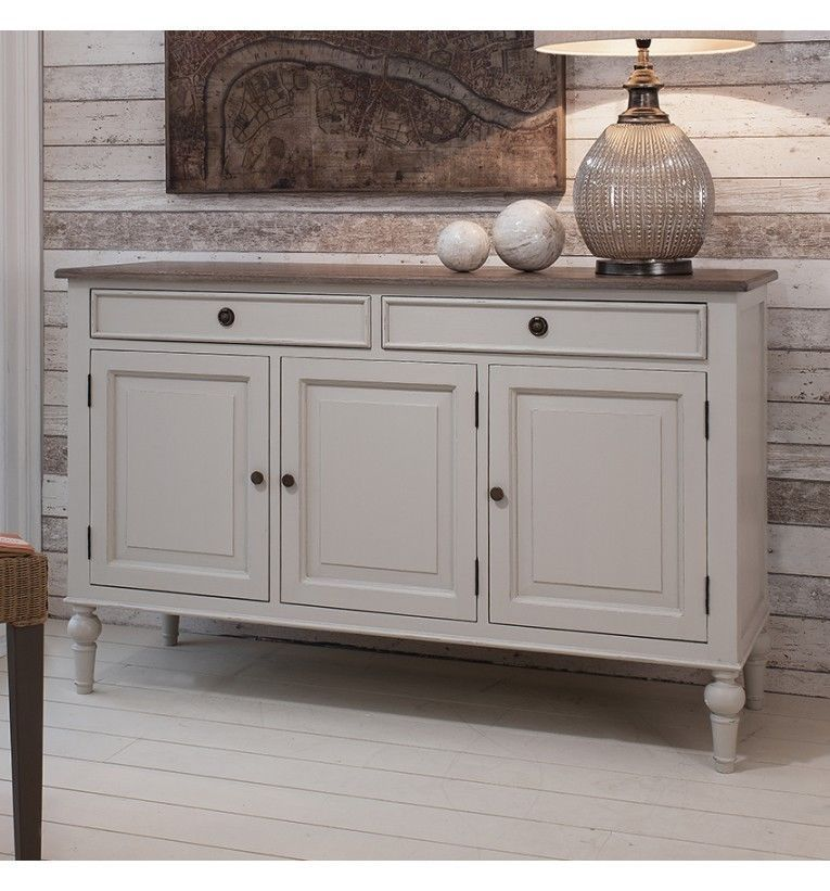 MAISON FRENCH PAINTED COOL GREY LARGE SIDEBOARD