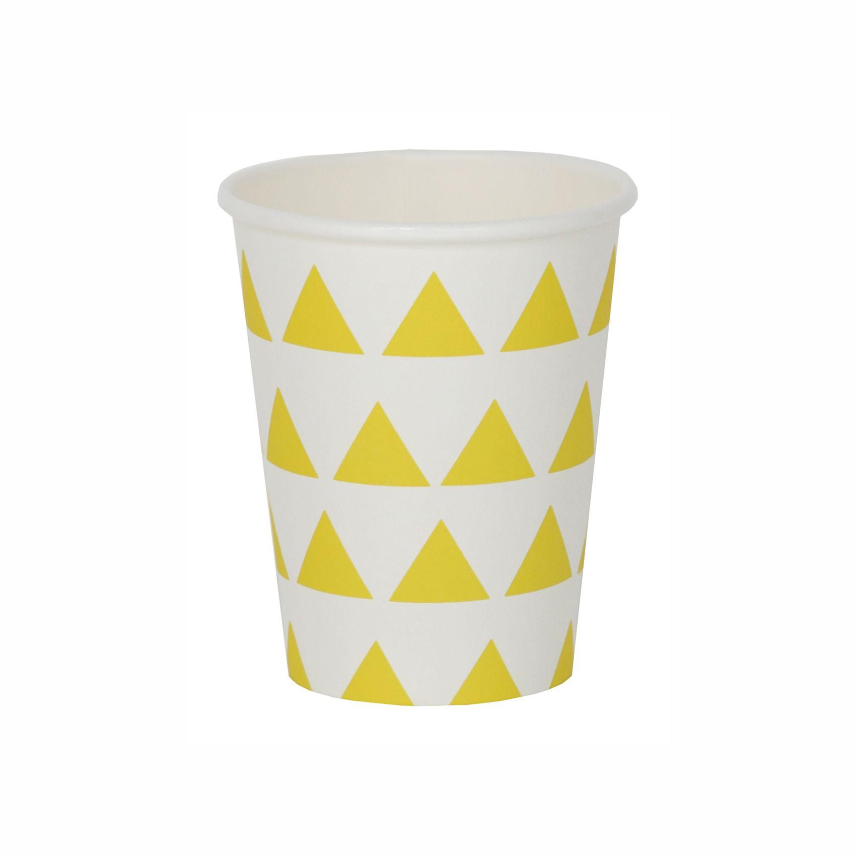 Vasos de Papel con Triángulos Amarillos